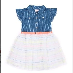 Little Lass Foil Dot Chambray Dress Set NWT 18M